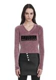 ALEXANDER WANG V- NECK PULLOVER WITH 'VINYL MELTDOWN' JACQUARD TOP Adult 8_n_e