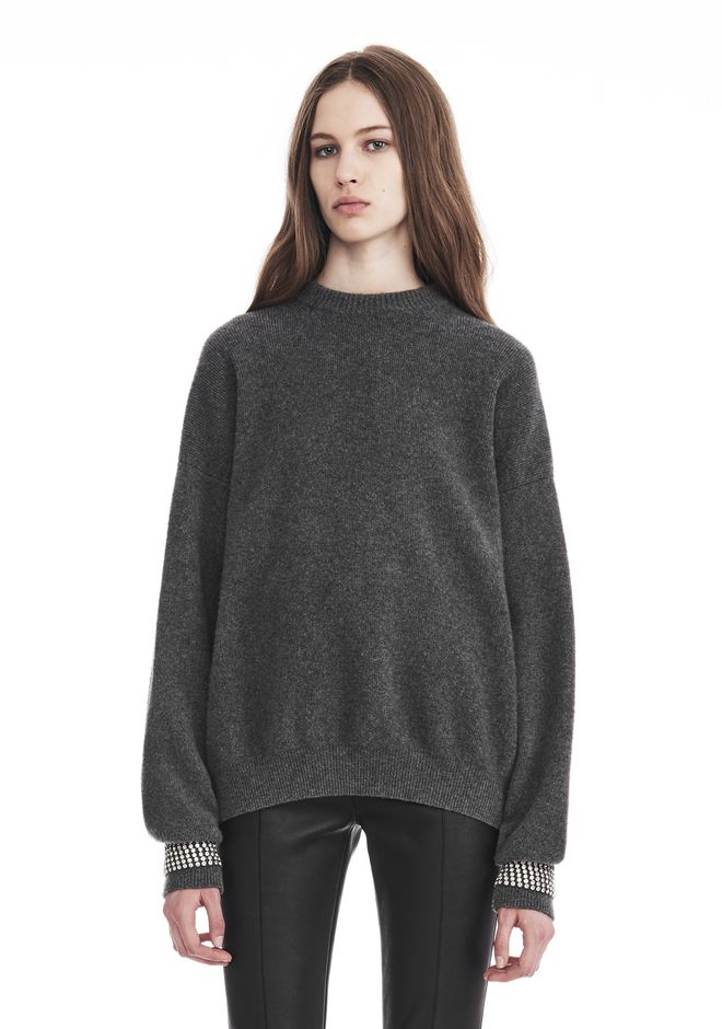 ALEXANDER WANG knitwear-ready-to-wear-woman CREW NECK PULLOVER WITH CRYSTAL CUFF TRIMS