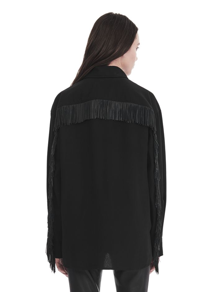 ALEXANDER WANG MILITARY SHIRT WITH LEATHER FRINGE TOP Adult 12_n_d