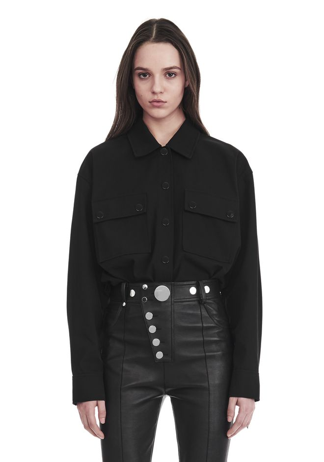 ALEXANDER WANG MILITARY SHIRT WITH LEATHER FRINGE TOP Adult 12_n_e