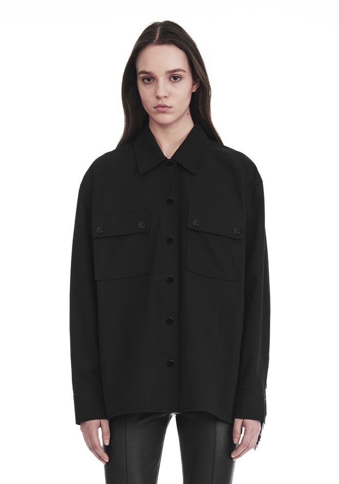 ALEXANDER WANG MILITARY SHIRT WITH LEATHER FRINGE TOP Adult 12_n_r