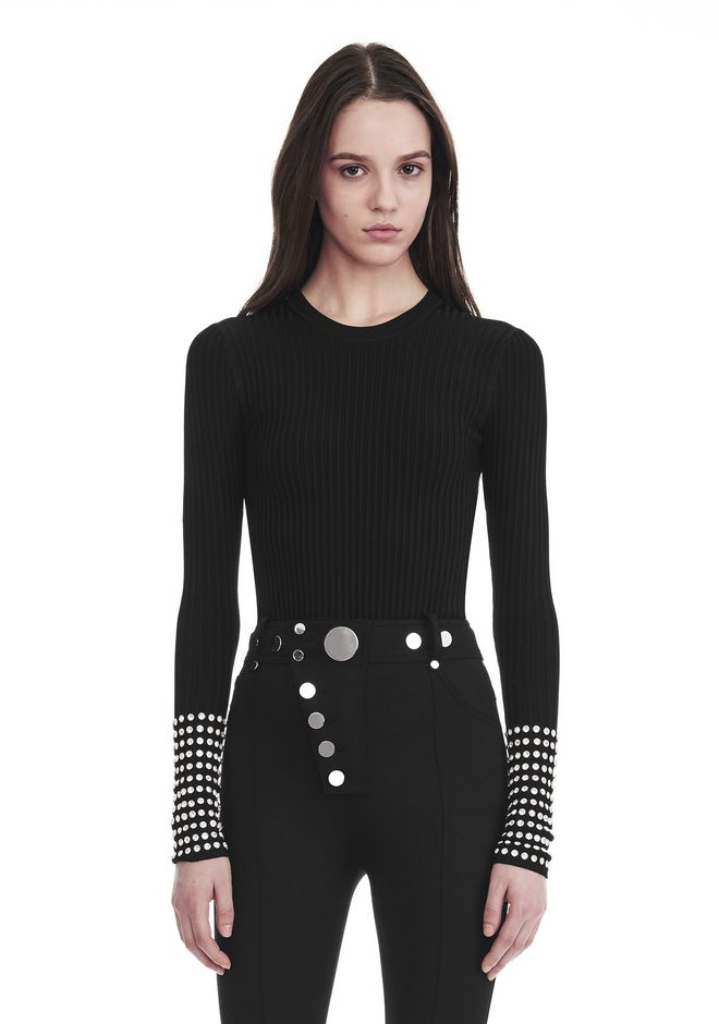 ALEXANDER WANG ready-to-wear-sale LONG SLEEVE PULLOVER WITH CRYSTAL CUFF TRIM