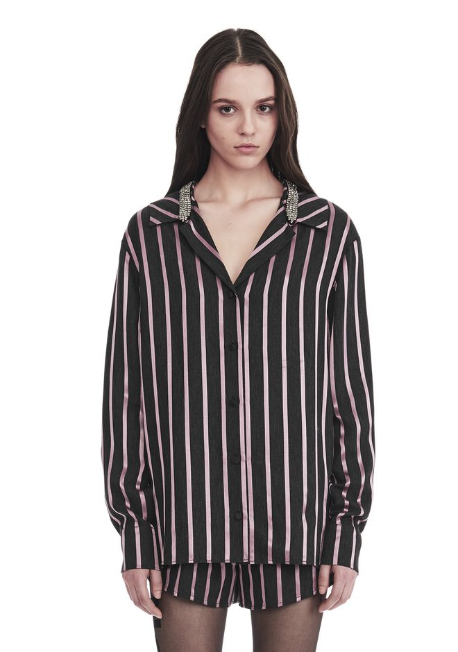 ALEXANDER WANG slrtwtp LONG SLEEVE STRIPED PAJAMA TOP