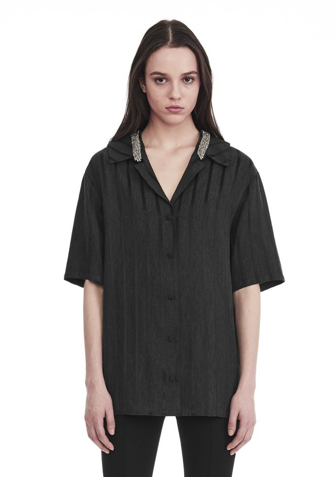 ALEXANDER WANG SHORT SLEEVE STRIPED PAJAMA TOP  TOP Adult 12_n_e