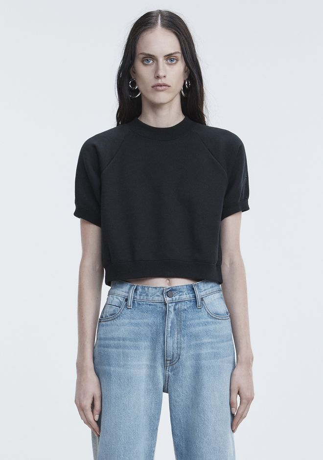 T by ALEXANDER WANG HAUTS FLEECE SHORT SLEEVE SWEATSHIRT