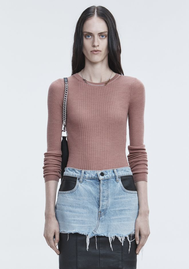 T by ALEXANDER WANG TOPS RIB LONG SLEEVE TOP