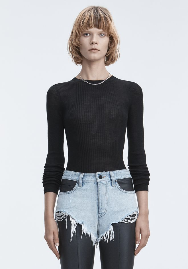 T by ALEXANDER WANG RIB LONG SLEEVE TOP TOP Adult 12_n_e