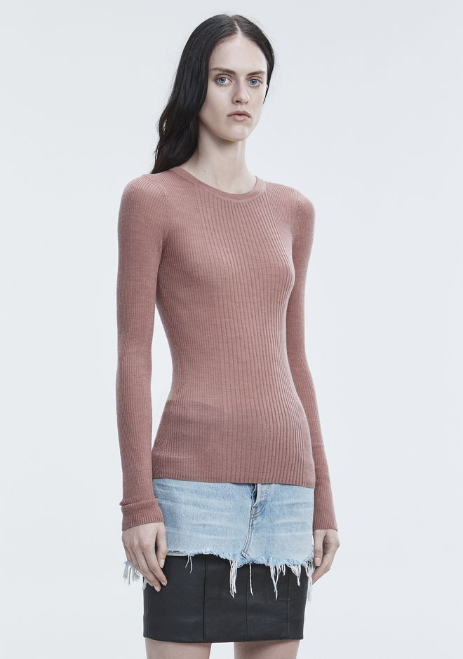 T by ALEXANDER WANG RIB LONG SLEEVE TOP TOP Adult 12_n_a