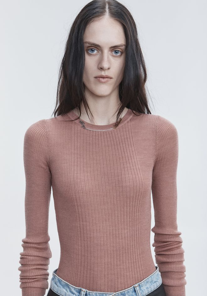 T by ALEXANDER WANG RIB LONG SLEEVE TOP TOP Adult 12_n_r