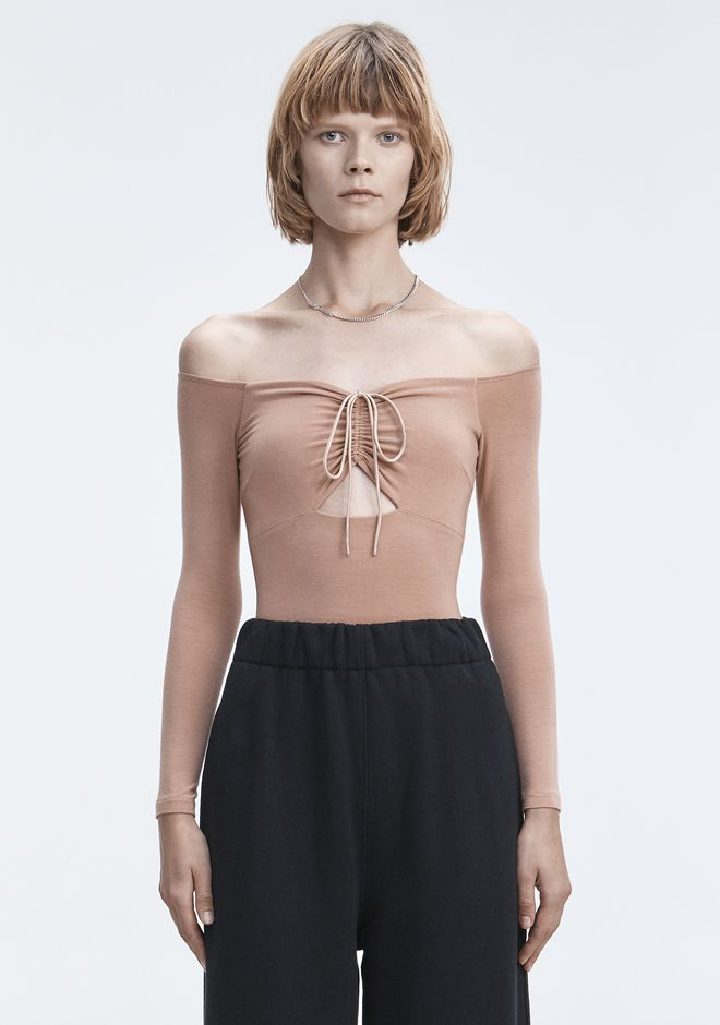 T by ALEXANDER WANG TOPS LONG SLEEVE RUCHED BODYSUIT