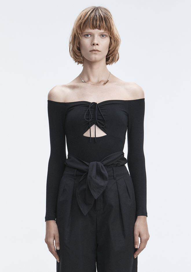 T by ALEXANDER WANG LONG SLEEVE RUCHED BODYSUIT  TOP Adult 12_n_e
