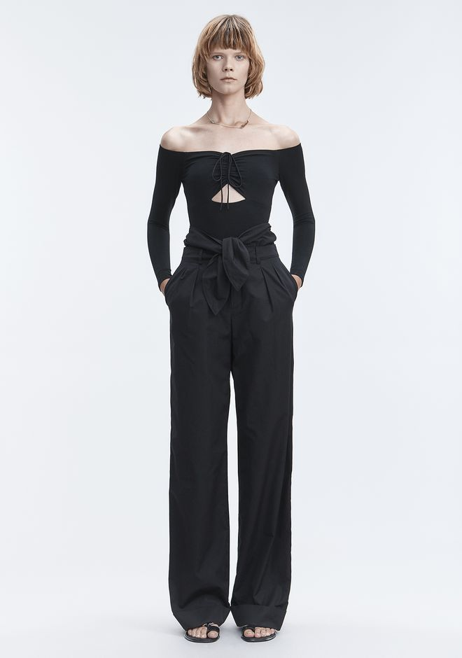 T by ALEXANDER WANG LONG SLEEVE RUCHED BODYSUIT  TOP Adult 12_n_f