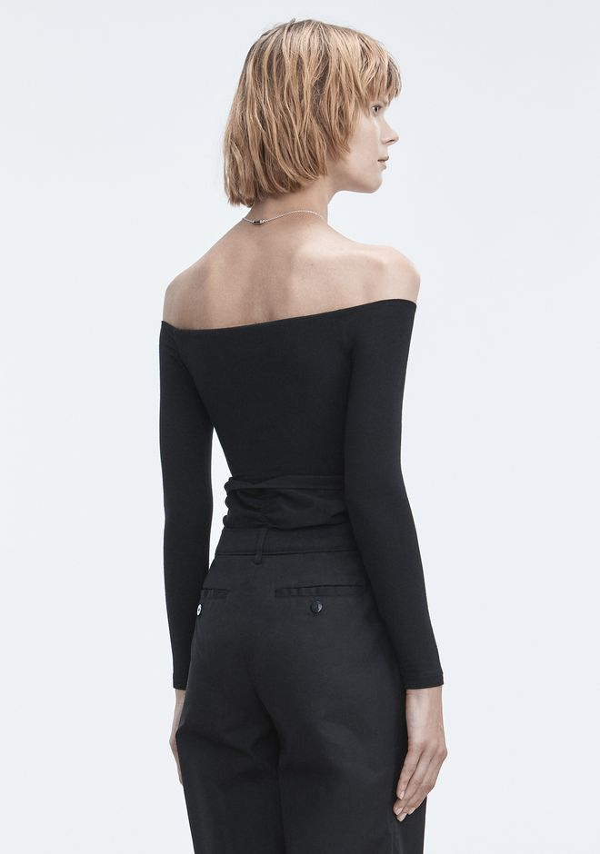 T by ALEXANDER WANG LONG SLEEVE RUCHED BODYSUIT  TOP Adult 12_n_r