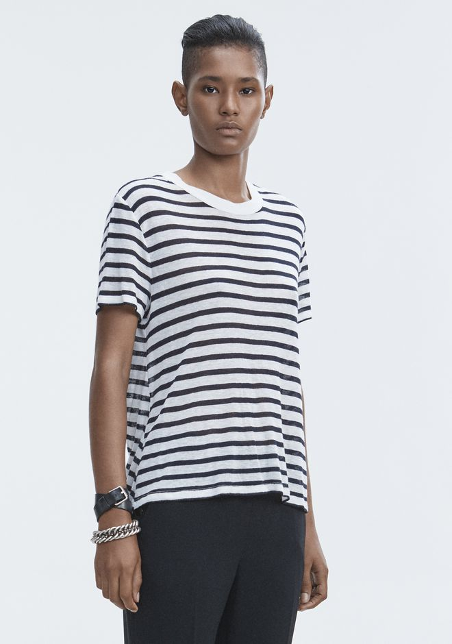 T by ALEXANDER WANG STRIPED CUTOUT TEE TOP Adult 12_n_a