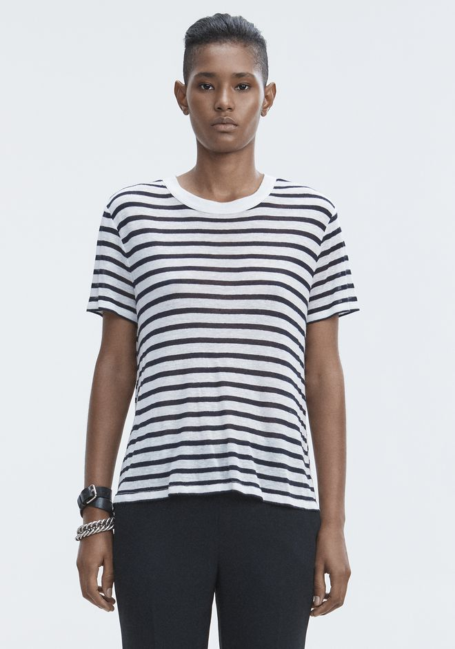 T by ALEXANDER WANG STRIPED CUTOUT TEE TOP Adult 12_n_d