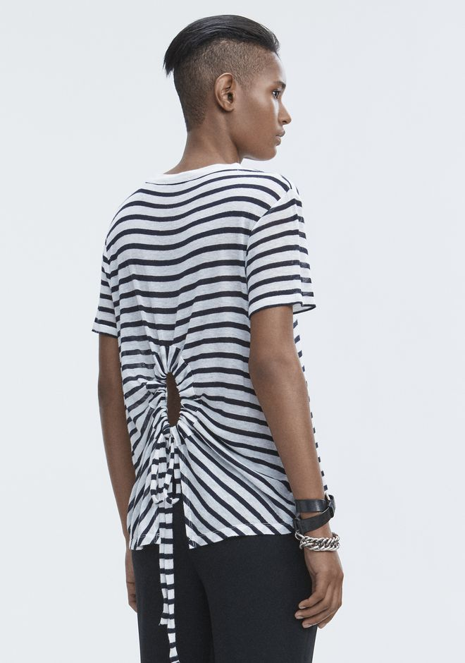 T by ALEXANDER WANG STRIPED CUTOUT TEE TOP Adult 12_n_e