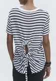 T by ALEXANDER WANG STRIPED CUTOUT TEE TOP Adult 8_n_r