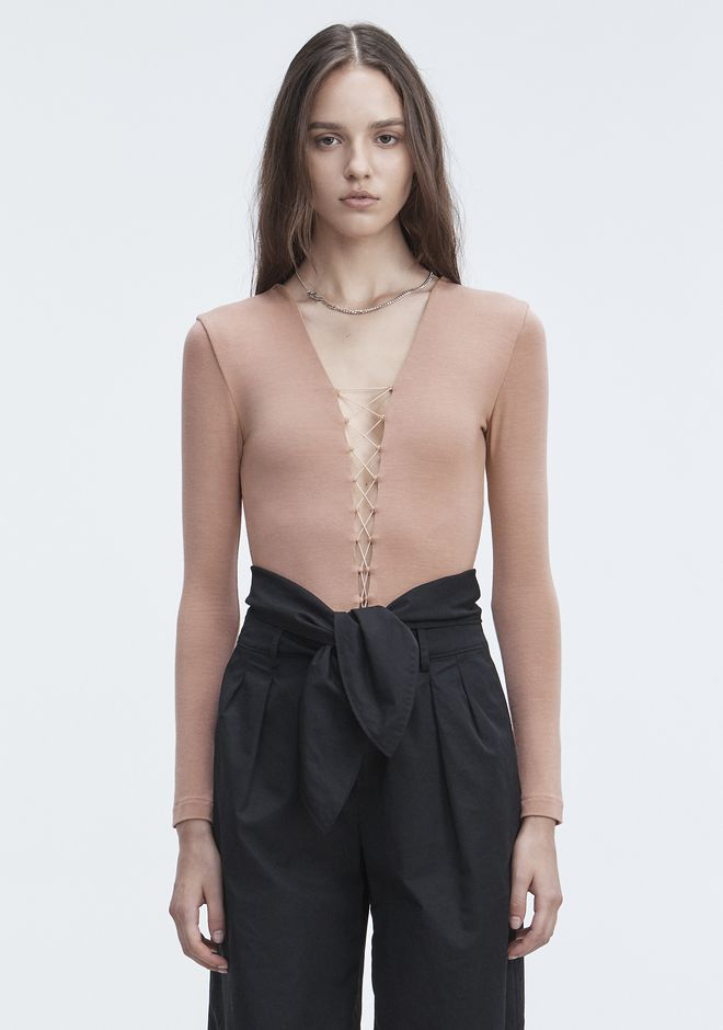 T by ALEXANDER WANG LACE UP BODYSUIT TOP Adult 12_n_e