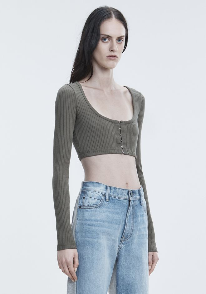 T by ALEXANDER WANG RIBBED CROP TOP  TOPS Adult 12_n_a