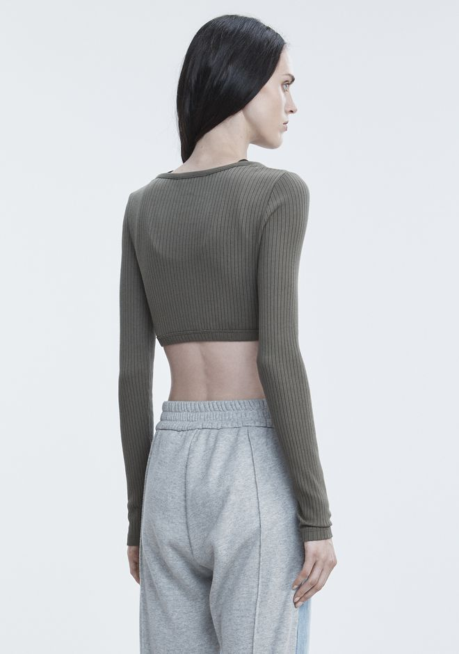 T by ALEXANDER WANG RIBBED CROP TOP  TOPS Adult 12_n_d