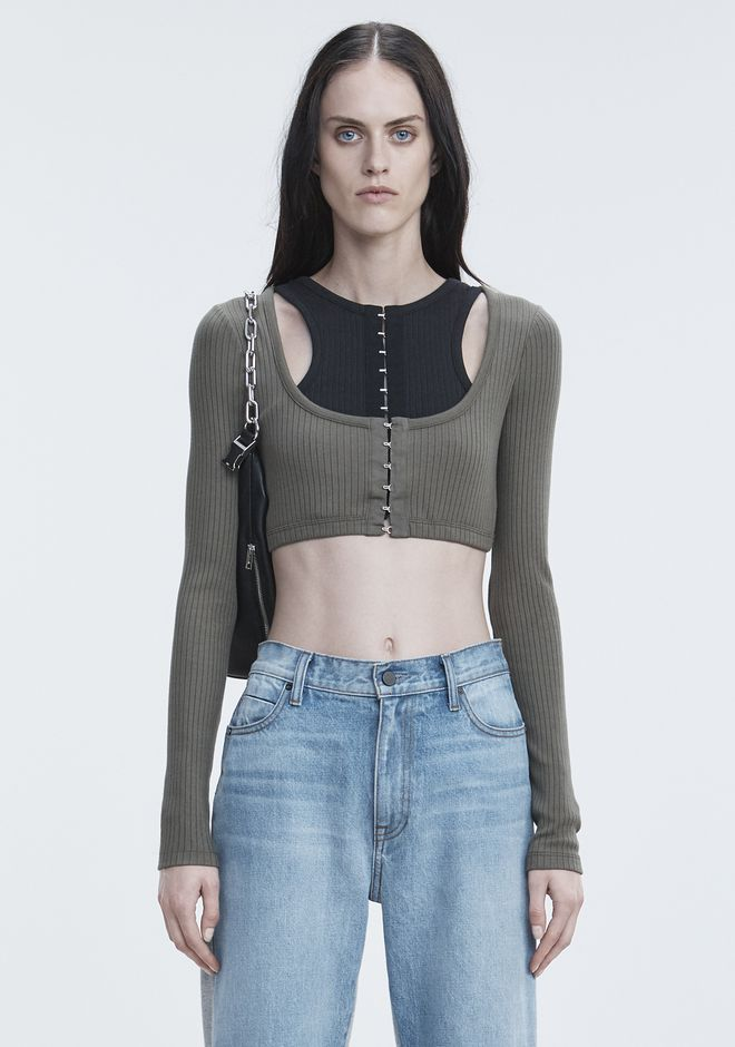 T by ALEXANDER WANG RIBBED CROP TOP  TOPS Adult 12_n_e