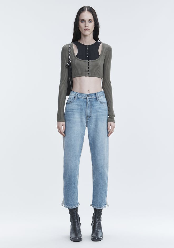 T by ALEXANDER WANG RIBBED CROP TOP  TOPS Adult 12_n_f