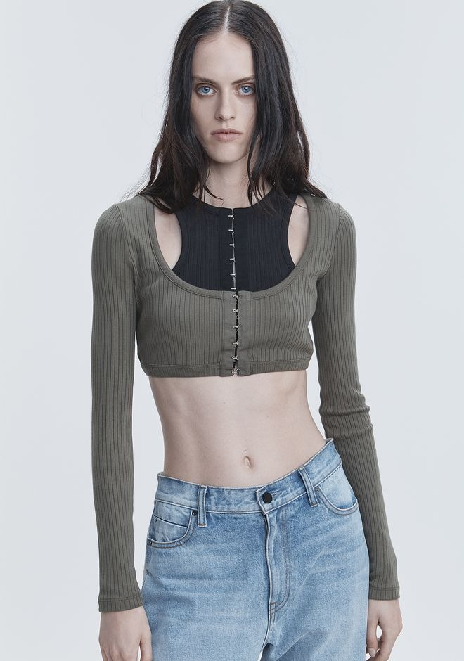 T by ALEXANDER WANG RIBBED CROP TOP  TOPS Adult 12_n_r