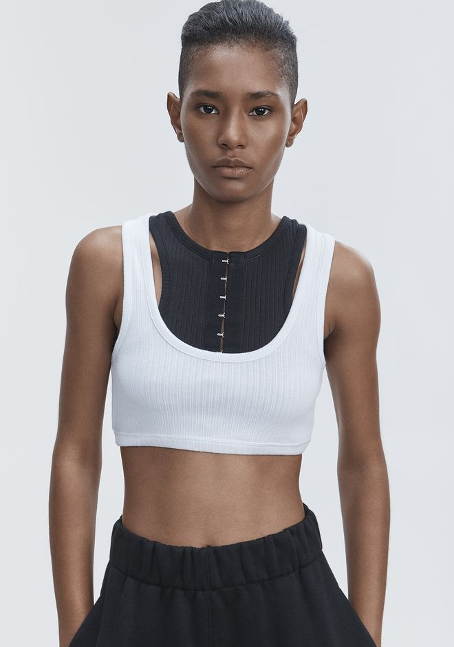 T by ALEXANDER WANG RIBBED BRA TOP TOP Adult 12_n_r
