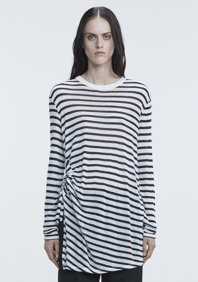 T by ALEXANDER WANG STRIPED LONG SLEEVE CUTOUT TEE TOP Adult 12_n_a