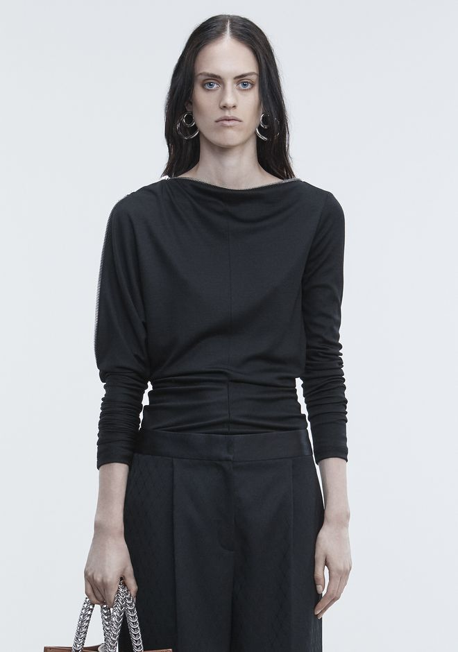 ALEXANDER WANG ASYMMETRIC DOLMAN SLEEVE TOP HAUTS Adult 12_n_e