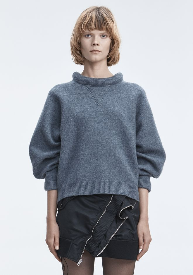 T by ALEXANDER WANG HAUTS BOILED WOOL SWEATER