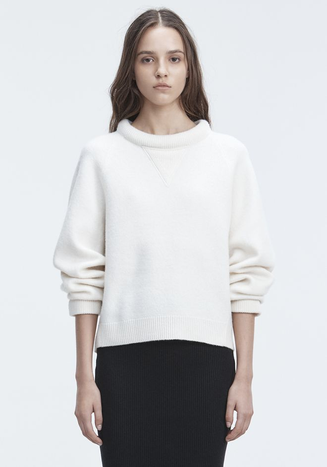 T by ALEXANDER WANG BOILED WOOL SWEATER TOP Adult 12_n_e