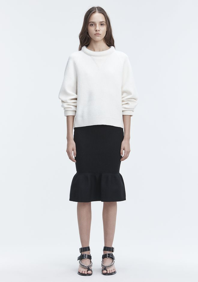 T by ALEXANDER WANG BOILED WOOL SWEATER TOPS Adult 12_n_f
