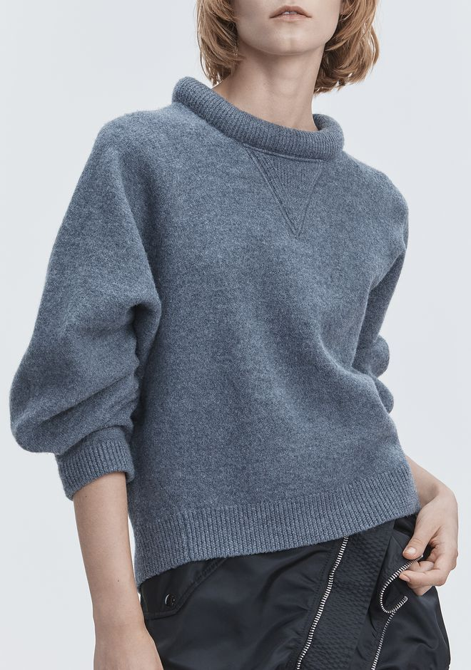 T by ALEXANDER WANG BOILED WOOL SWEATER TOP Adult 12_n_r