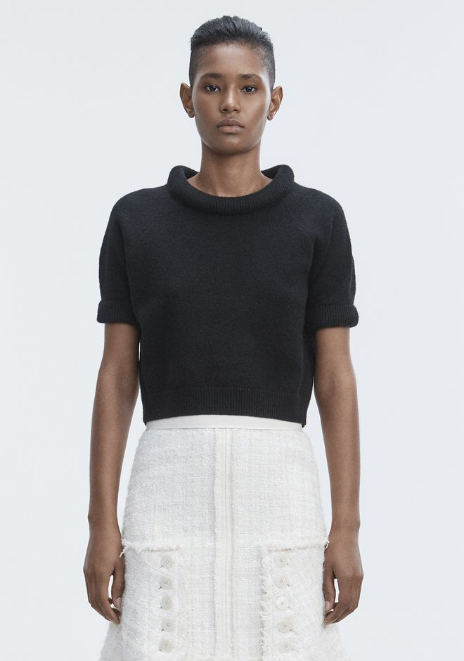 T by ALEXANDER WANG BOILED WOOL SHORT SLEEVE SWEATER TOP Adult 12_n_e