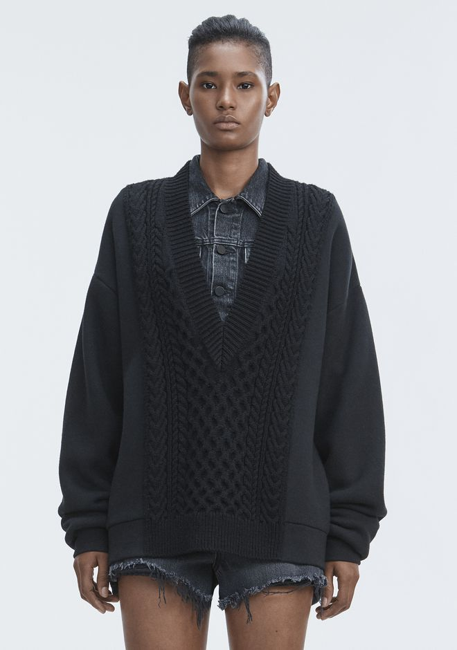 T by ALEXANDER WANG knitwear-t-by-alexander-wang-woman MIXED MEDIA V-NECK SWEATER