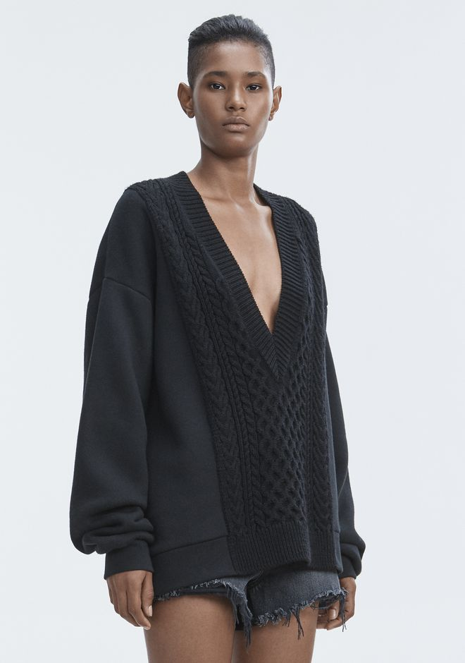 T by ALEXANDER WANG MIXED MEDIA VNECK TOP Adult 12_n_a