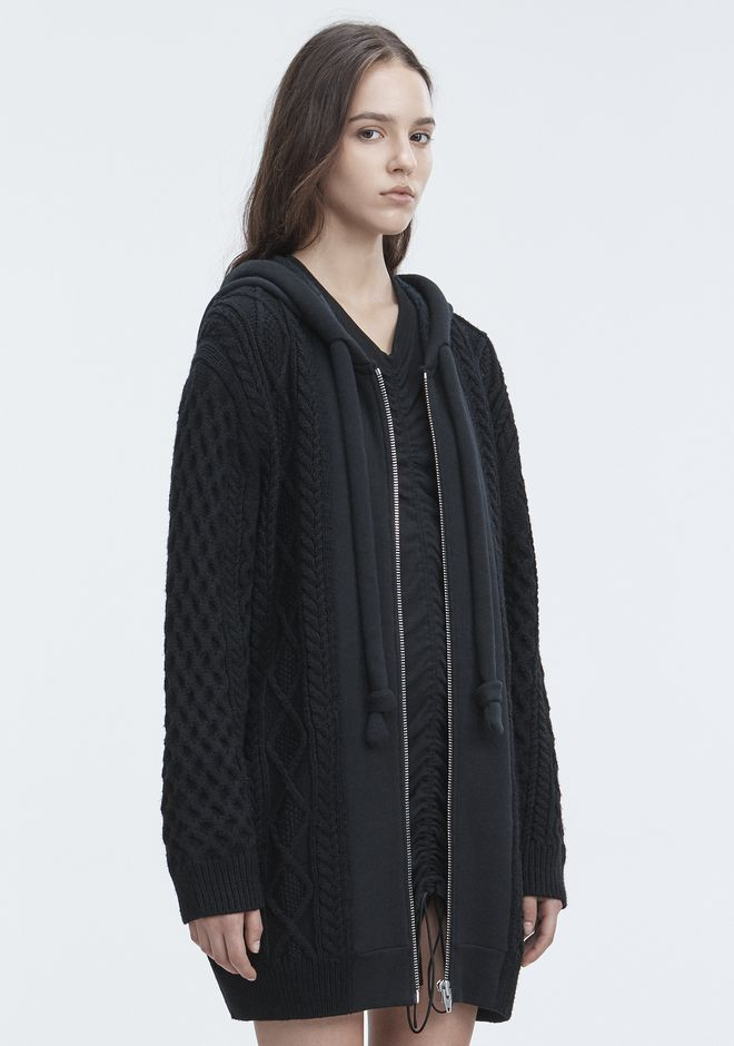 T by ALEXANDER WANG MIXED MEDIA HOODIE TOP Adult 12_n_a