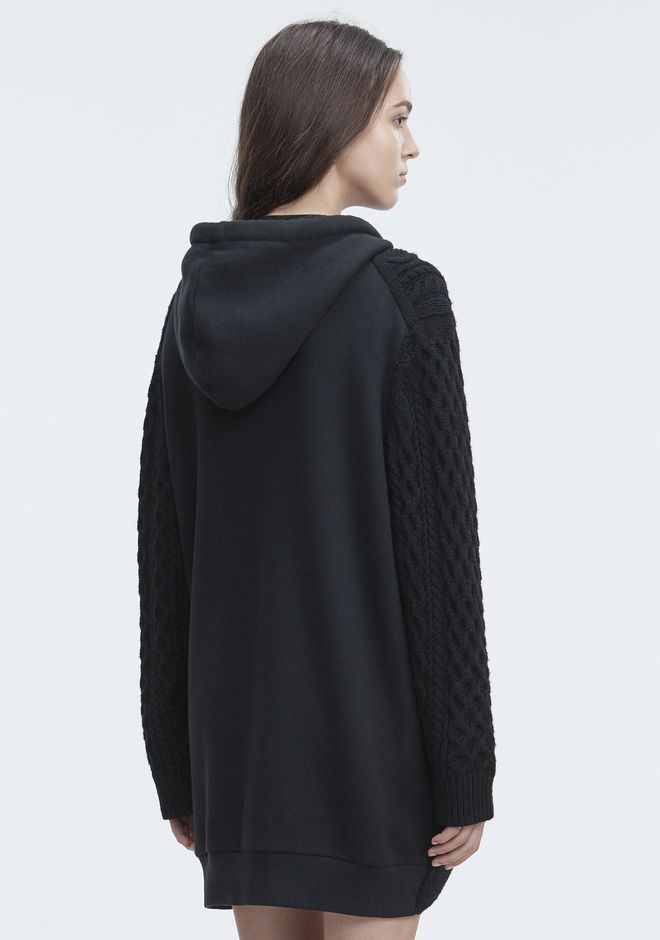 T by ALEXANDER WANG MIXED MEDIA HOODIE TOP Adult 12_n_d
