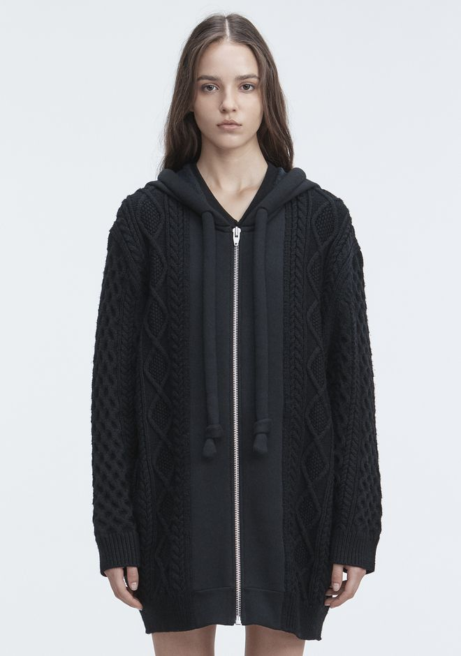 T by ALEXANDER WANG MIXED MEDIA HOODIE TOP Adult 12_n_e