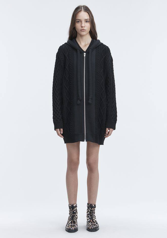 T by ALEXANDER WANG MIXED MEDIA HOODIE TOP Adult 12_n_f