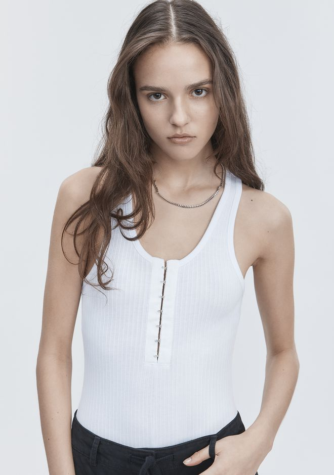 T by ALEXANDER WANG RIBBED BODYSUIT TOP Adult 12_n_a
