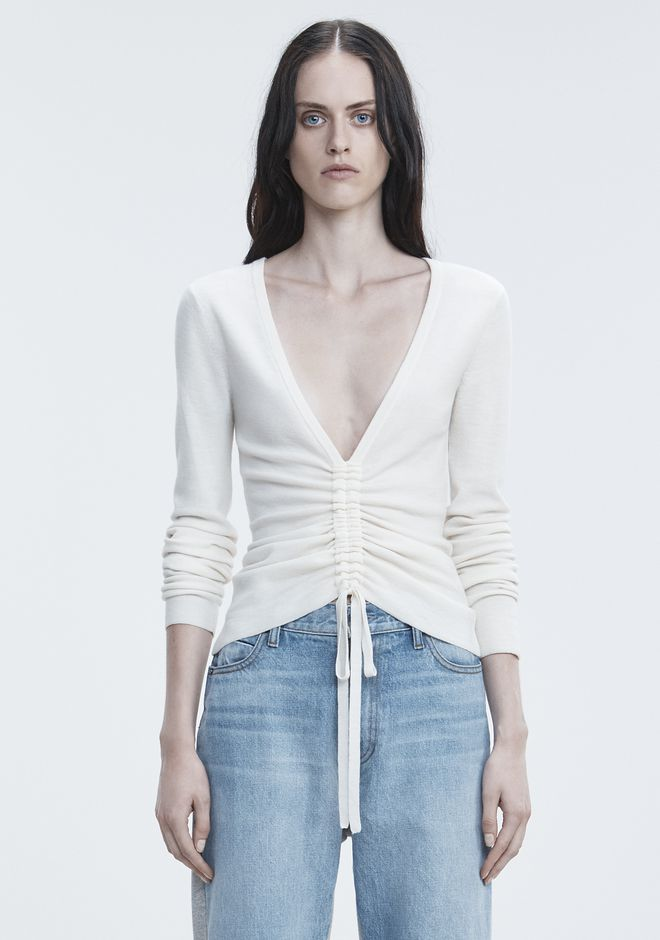 T by ALEXANDER WANG TOPS RUCHED V-NECK SWEATER