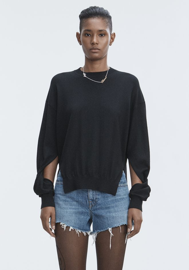 T by ALEXANDER WANG sltbtp TWISTED SLEEVE SWEATER