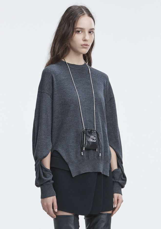 T by ALEXANDER WANG TWISTED SLEEVE SWEATER TOP Adult 12_n_a