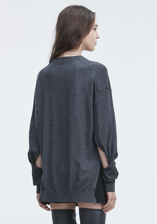T by ALEXANDER WANG TWISTED SLEEVE SWEATER TOP Adult 12_n_d