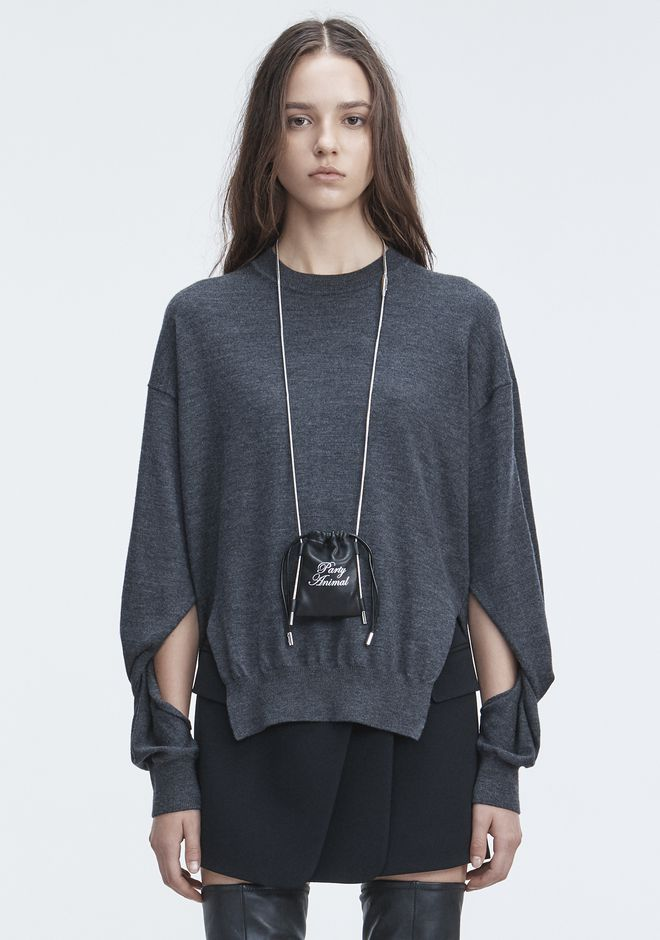 T by ALEXANDER WANG TWISTED SLEEVE SWEATER TOP Adult 12_n_e