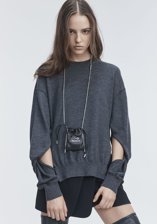 T by ALEXANDER WANG TWISTED SLEEVE SWEATER TOP Adult 12_n_r