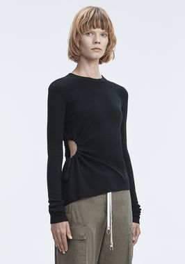 RUCHED CUTOUT SWEATER
