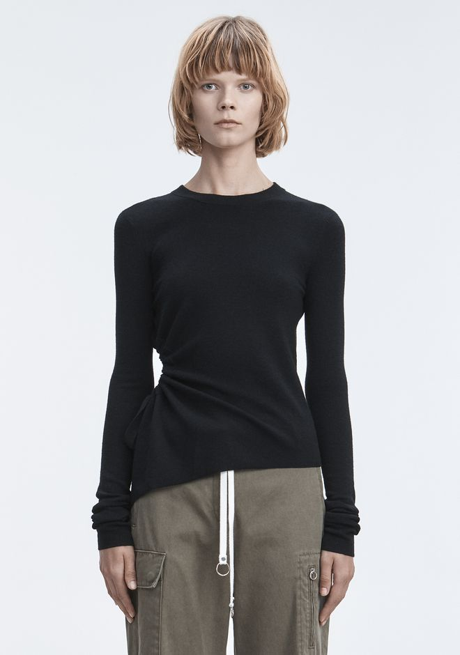 T by ALEXANDER WANG RUCHED CUTOUT SWEATER TOP Adult 12_n_a